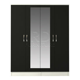 hampton 4 door mirrored wardrobe white and black