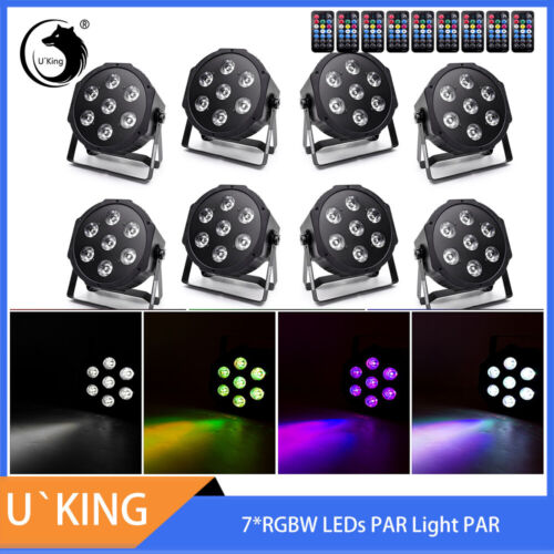 Par Light,U`King LED Stage Light RGBW 7LED Adjustable color Brightness and Speed DMX512 DJ Lights Automatic Sound Control Disco Lights for Party Wedding Bar KTV Disco DJ