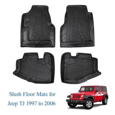 All Weather TPE Front & Rear Slush Floor Mats For 1997-2006 Jeep Wrangler TJ