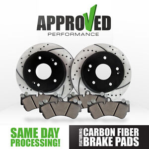 Front Cross Drilled & Slotted Brake Rotors & Carbon Fiber Brake Pads K36132