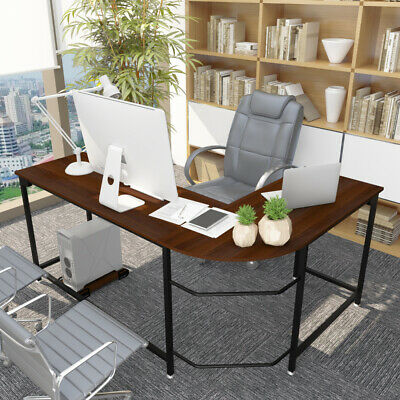 L-shaped Corner Computer Desk Pc Laptop Table Wood Workstation Home Office