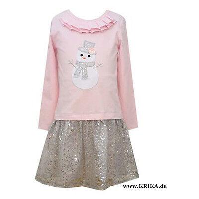 BONNIE JEAN Mädchen Kleid Langarm SCHNEEMANN X26012-DL Outfit rosa silber NEU