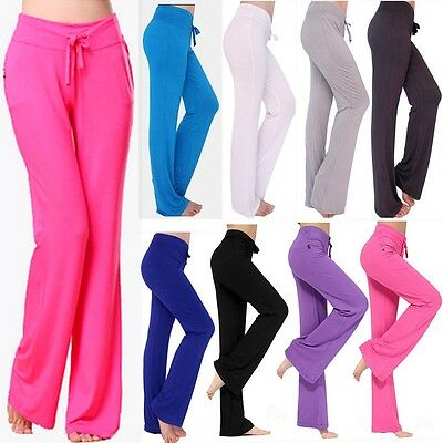 Womens Yoga Pants Sports Gym Clothing Leggings Trousers Straight Flare Fitness