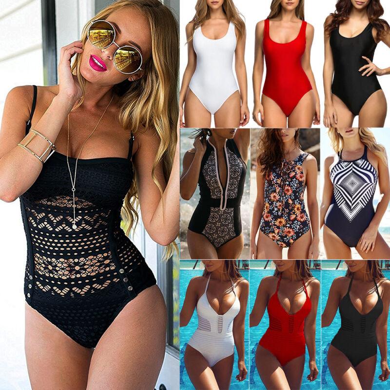 Damen Einteiler Push up Badeanzug Padded Bademode Schwimmanzug Monokini 34-42 NM