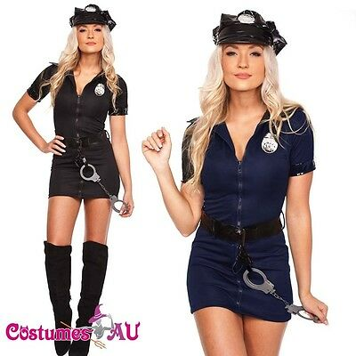Ladies Black Police Costume Cop Officer Uniform Party Fancy Dress Blue Outfits - Cop Outfits For Women