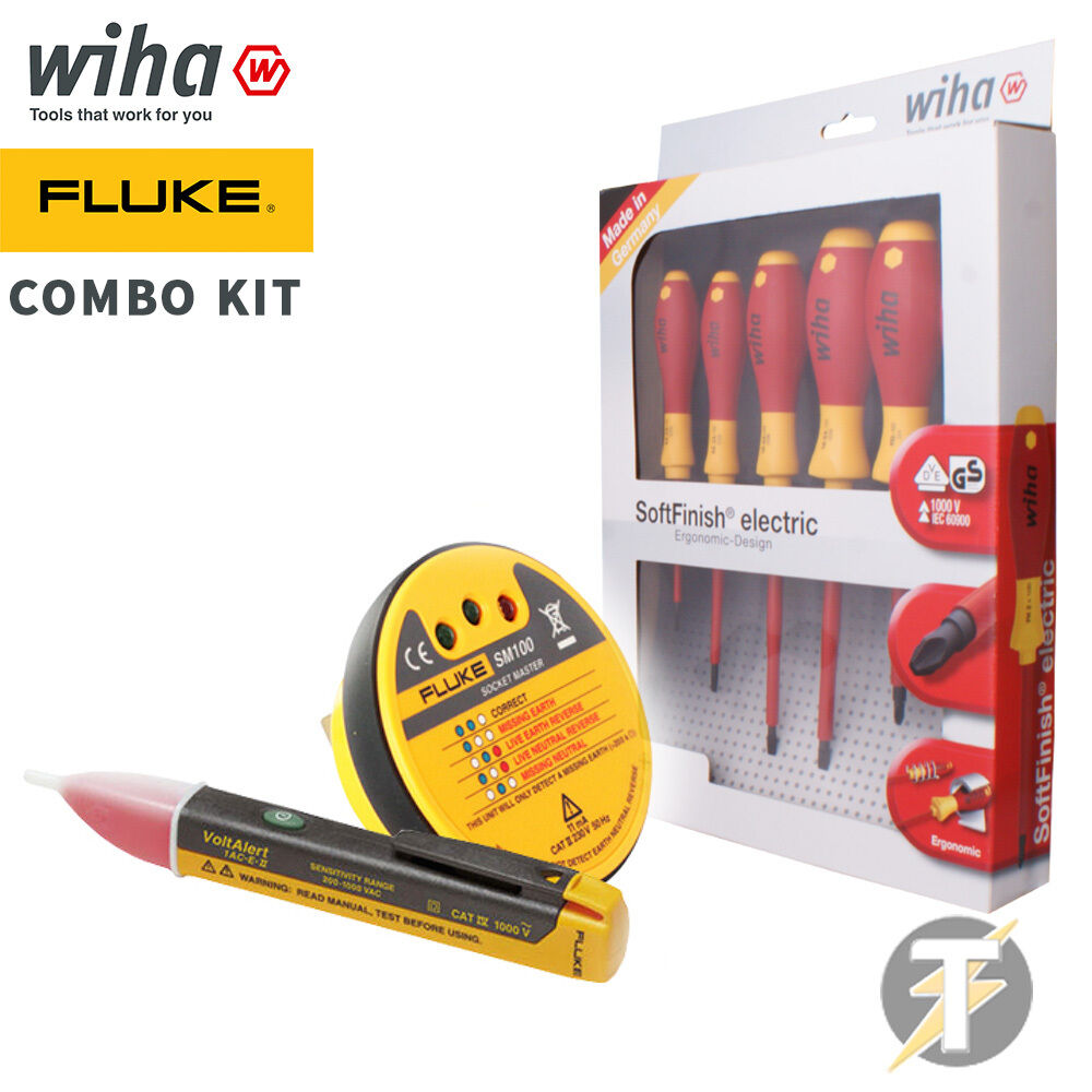 fluke 1ac e ii voltalert voltage sm100 socket tester wiha 6 pce screwdriver set ebay. Black Bedroom Furniture Sets. Home Design Ideas