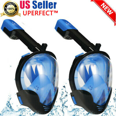 2PCS Best US Snorkeling Mask Full Face Anti-Fog Mask L/XL Size Blue 2019