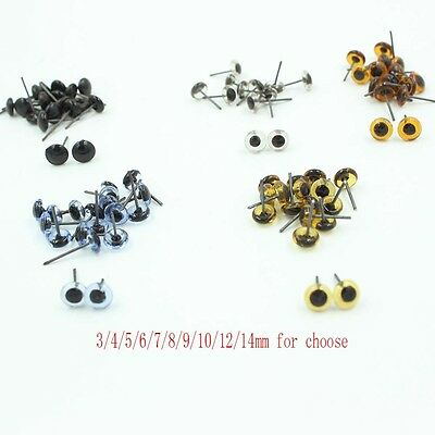100pcs 3/4/5/6/7/8/9/10/12/14mm Glass Eyes On Wire Toy Teddy Eyes Puppets Doll (Craft Eyes)