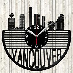 Vancouver Skyline Vinyl Record Wall Clock Decor Handmade 6839