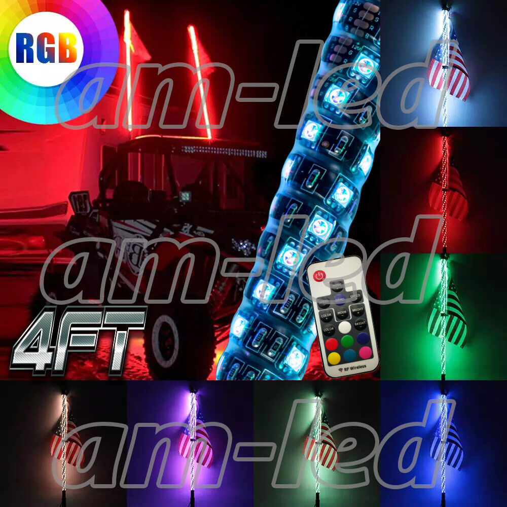 2pc 4ft Lighted Spiral LED Whip Antenna w/Flag & Remote for ATV Polaris RZR UTV