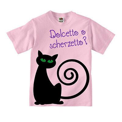 Halloween Dolcetto Scherzetto (Simpatica t-shirt bambina Dolcetto o scherzetto, gatto Halloween, fronte retro!)