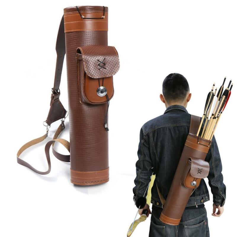 Traditional Leather Archery Back Shoulder Arrow Quiver Holder Adjustable Straps