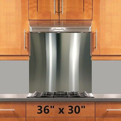 Backsplash Stainless Steel 36x30in Stove Range Hood Wall Shield w/ Hemmed Edges