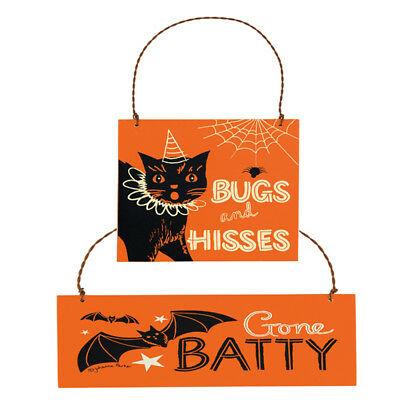 PBK Halloween Ornament - Black Cat Bugs and Kisses Gone Batty 2pc. #24772/24777](Halloween Bugs And Kisses)