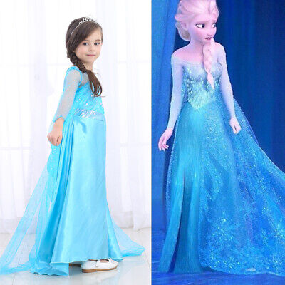 Princess Elsa Dressup Costume Fancy Dress Girls Snow Queen Costume Party Outfit
