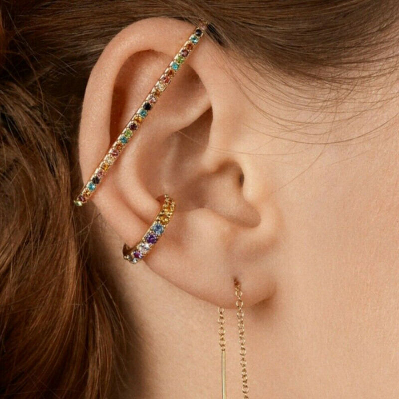 Women's Ear Cuff Wrap Rhinestone Cartilage Clip Earrings No