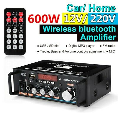 600W Mini Bluetooth Amplifier HiFi Home Stereo Audio Digital Amp USB FM Mic Car