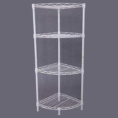 Corner Storage Durable 4 Tier Rack Shelf Wire Shelving Kitchen Bathroom Holder