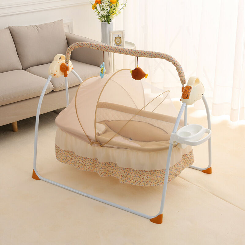 Electric Baby Crib Cradle Auto-Swing Infant Music Basket Sleeping Bed Remote