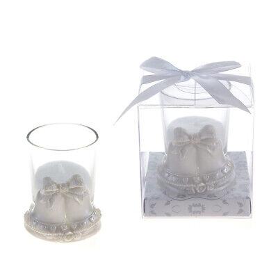 Mega Favors - Pair of Wedding Bells Poly Resin Candle Set - White, 12PCS