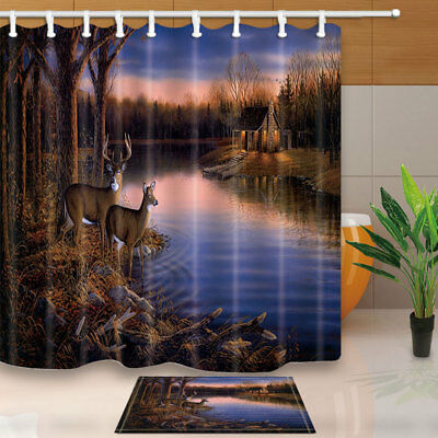 White tail deer and huts Shower Curtain Bathroom Waterproof Fabric & 12Hooks Whitetail Shower Curtain Hooks