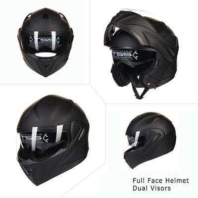 Black Full Open Face Modular Flip Up Dual Visor DOT Motorcycle Street Helmet