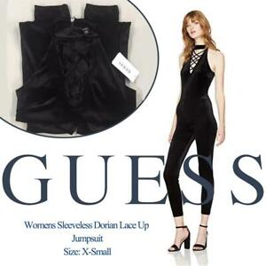 NEW GUESS Womens Sleeveless Dorian Lace Up Jumpsuit, X-Small Condtion: New, X-Small, Jet Black