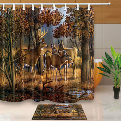 Deer Whitetail Elk in Forest Waterproof Polyester Fabric Shower Curtain Bathroom Whitetail Shower Curtain Hooks