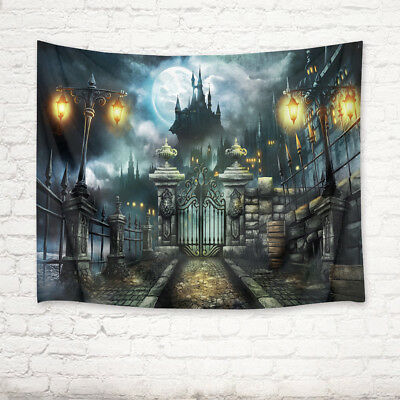 Decorate Living Room For Halloween (Halloween Castle Gate Tapestry Wall Hanging for Living Room Bedroom Home)