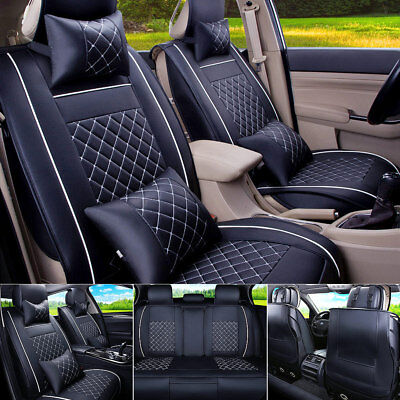 Car Seat Cover PU Leather Front & Rear 5-Seats Auto Size M W/Neck Lumbar Pillow
