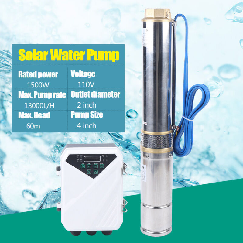 1.5KW 110V Solar Water Pump 13000L/H Farm Ranch Submersible Bore Hole Deep Well