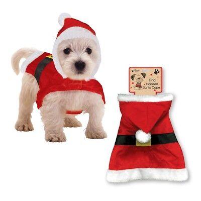 Neuheit Santa Outfit für Hund Welpe mit Kapuze Umhang Kostüm Weihnachten (Santa Kostüm Für Hunde)