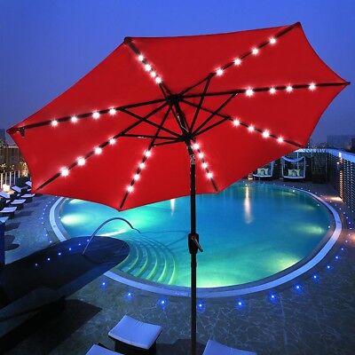 9' FT 8-rib Patio Outdoor Aluminium Umbrella 32 Led Solar Powered Crank Tilt Red