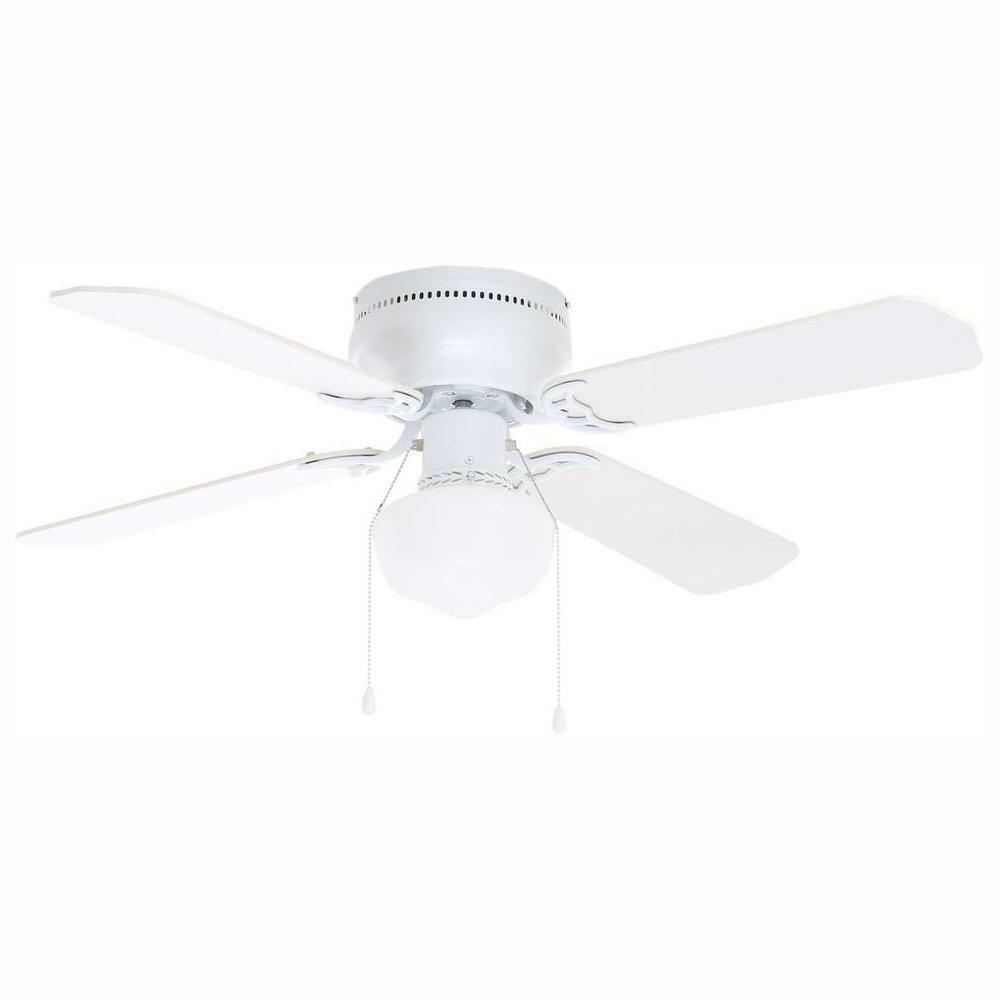 White Ceiling Fan Light 24 In Small Compact Indoor Oak Reversible Blades Motor