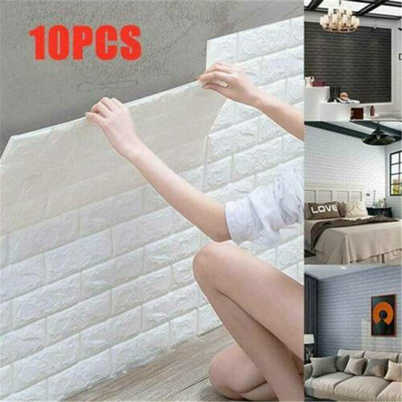 Home Decoration - 10Pcs Simple 3D Foam Stone Brick Self-adhesive Home Wall Sticker Panels Pad .M