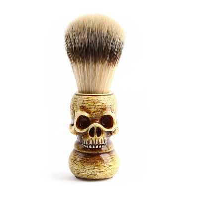 Men Shaving Brush Resin Skull Head Skeleton Natural Resin Handle Makeup X6C1 - Mens Skull Makeup