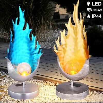 2x LED Solar Steh Leuchten Flammen Design Feuer - Hof Dekoration