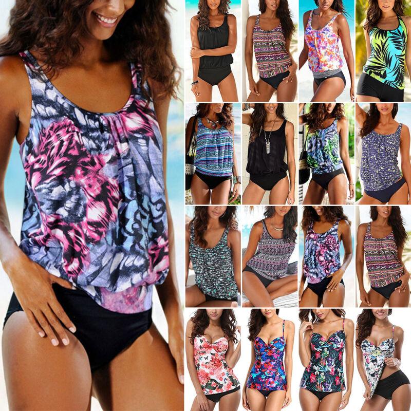 Damen Tankini Bikini Set Push Up Badeanzug Bademode Schwimmanzug Übergröße 34-48