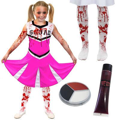 GIRLS ZOMBIE CHEERLEADER PINK HALLOWEEN FANCY DRESS COSTUME KIDS DEATH