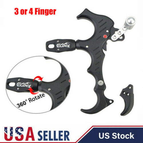 Aluminum 4-Finger Grip Adjustable Thumb Release Archery Bow Release Voorpret Compound Bow Thumb Release