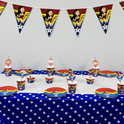 Marvel Clothes For Kids (62pcs Wonder Woman Theme for 12 Kids Child Party Decoration Plate Cups Cloth)