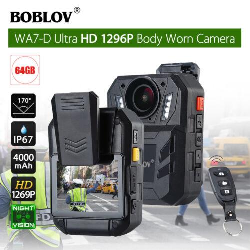 """WA7-D Ultra HD 1296P 64GB 2.0"""" Body Worn Police Camera Recorder w/Remote Control"""