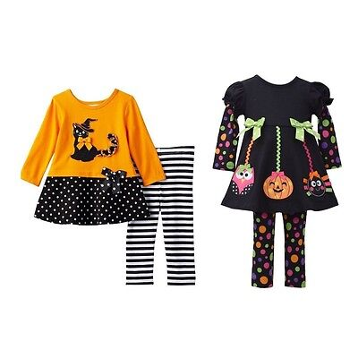New Bonnie Jean Halloween Ghost Witch Cat Tunic Leggings Set Outfit 12 18 24 MO - Halloween Witches Outfits