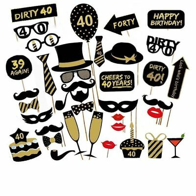 36PCS 40th Fortieth Year Birthday Party Decoration Masks Favor Photo Booth Props - 40th Birthday Decor