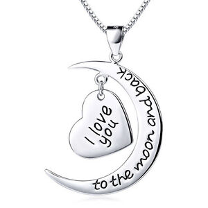 I Love You To The Moon and Back -925 Sterling Silver Crescent Heart Necklace 18