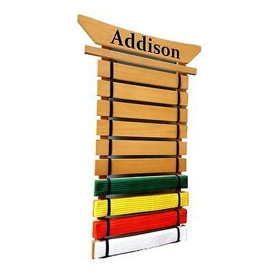 Personalized Karate Belt Holder - Asian Top 10 Lev. - Martial arts belt Display