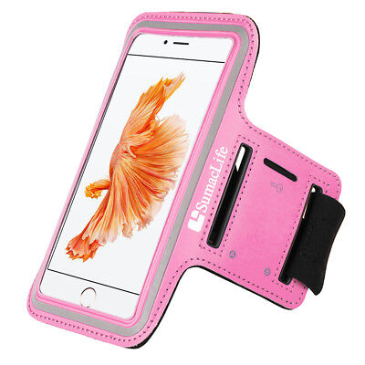SumacLife Pink Neoprene Sports Running Armband Case Holder For iPhone XS XR X 8