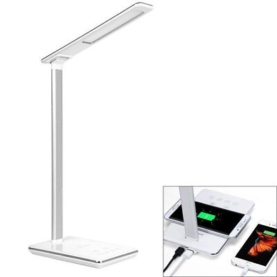48 LED Schreibtischlampe Bürolampe Mit Wireless QI Ladegerät für iPhone Samsung (Weißen Schreibtisch Für Schlafzimmer)