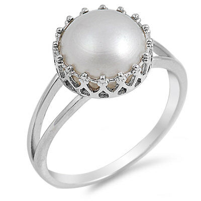 Deep Set Freshwater Pearl Wedding Ring .925 Sterling Silver Band Sizes 4-10 NEW - Pearl Ring Setting