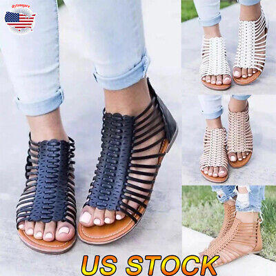 Womens Beach Sandals Ankle Straps Casual T-Strap Thong Flat Gladiators Shoes Zip Ankle Strap Flat Thong